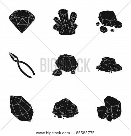 A set of jewelry, crystals, minerals and expensive metals. The jeweler inspects the ornaments.Precious minerals amd jeweler icon in set collection on black style vector symbol stock web illustration.