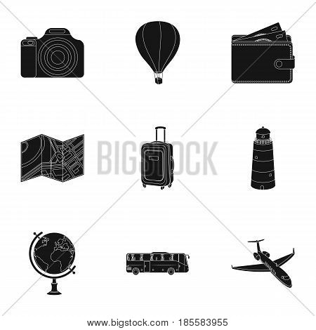 Set of icons on the theme of rest. Travel abroad. Rest and travel icon in set collection on black style vector symbol stock web illustration.