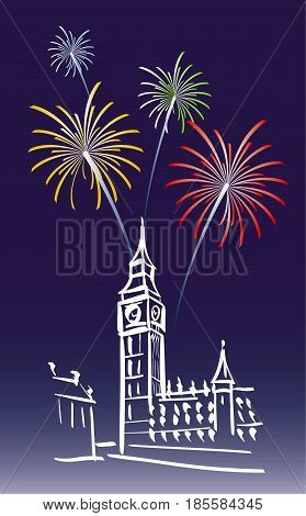 vector illustration for a proposed new year's day in London