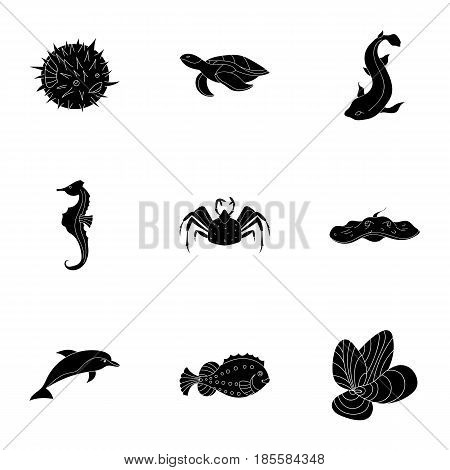 Marine and river inhabitants. Fish, whales, octopuses.Sea animals icon in set collection on black style vector symbol stock web illustration.