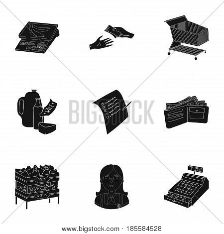 Supermarket, shopping in the store. A selection of pictures on the topic of shopping. Supermarket icon in set collection on black style vector symbol stock web illustration.