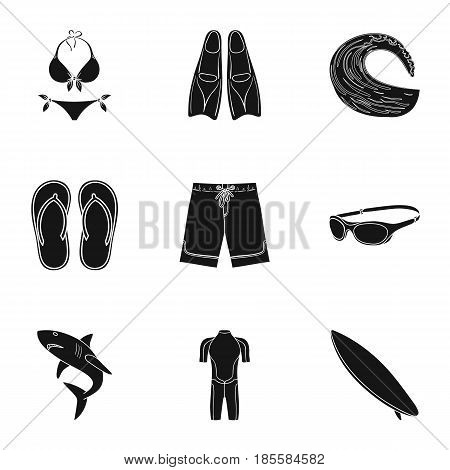 A collection of pictures on the theme of the beach, the sea, surfing. Rescuers of the beach.Surfing icon in set collection on black style vector symbol stock web illustration.