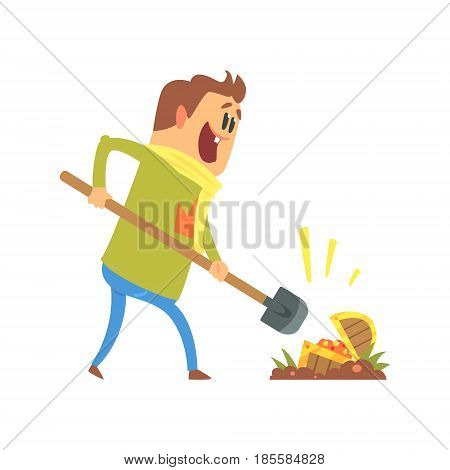 Cartoon man found a treasure chest, treasure hunter. Colorful character vector Illustration isolated on a white background