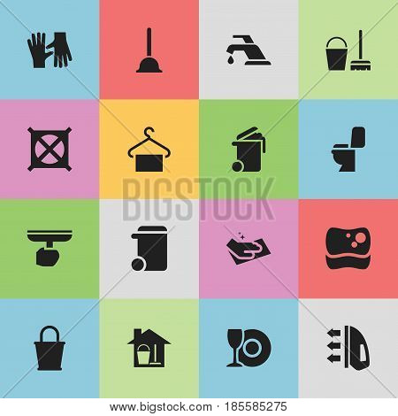 Set Of 16 Editable Dry-Cleaning Icons. Includes Symbols Such As No Laundry, Pail, Cleaning Kit And More. Can Be Used For Web, Mobile, UI And Infographic Design.
