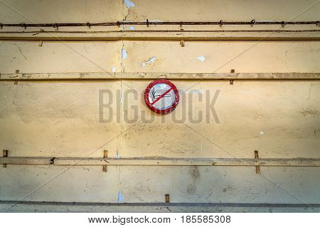 No smoking sign in desolate factory in Pripyat desolate city in Chernobyl Exclusion Zone Ukraine