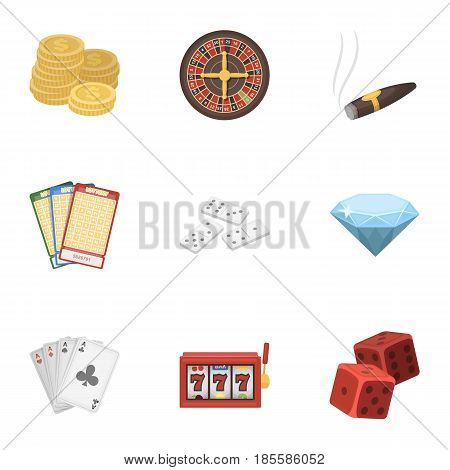 The set of symbols casino games. Gambling for money. Chips, dominoes, casino. Casino and gambling icon in set collection on cartoon style vector symbol stock web illustration.