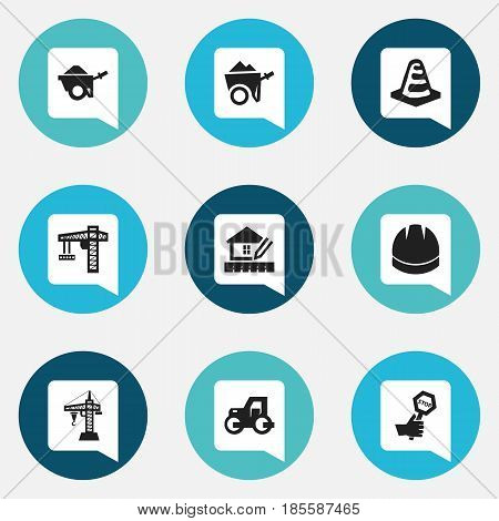 Set Of 9 Editable Structure Icons. Includes Symbols Such As Elevator, Trolley, Endurance And More. Can Be Used For Web, Mobile, UI And Infographic Design.