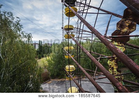 Fun fair in abandoned Pripyat city of Chernobyl Exclusion Zone Ukraine