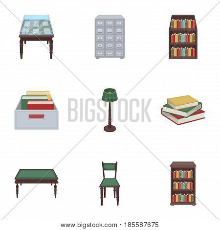 A set of icons with books. Seth about the library, reading, bookstore. Library and bookstore icon in set collection on cartoon style vector symbol stock web illustration.