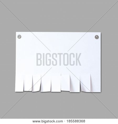 Empty Paper Ad Loose Leaves. Isolated On A Grey Background. Attached Metal Buttons. Blank Advertisem