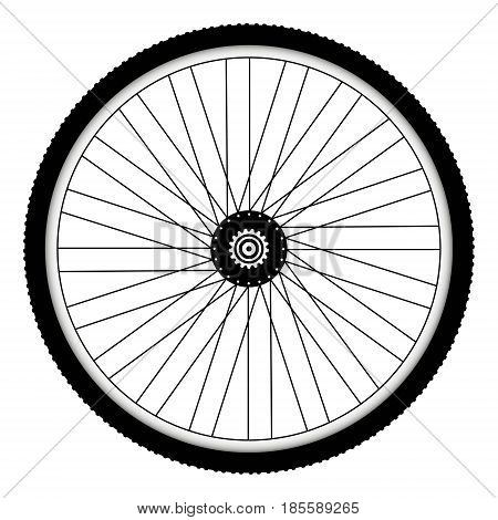 Rear bicycle wheel with spiked bicycle tire vector  Bike rubber. Mountain tyre. Valve. Fitness cycle. MTB. Mountainbike.