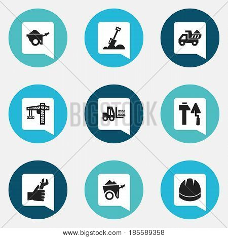Set Of 9 Editable Construction Icons. Includes Symbols Such As Construction Tools, Trolley, Oar And More. Can Be Used For Web, Mobile, UI And Infographic Design.