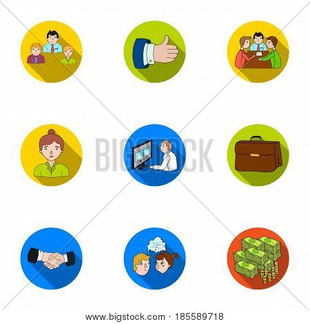 A set of pictures about the transaction, work, office. Office center, analytics.Business conference and ntgotiations icon in set collection on flat style vector symbol stock .