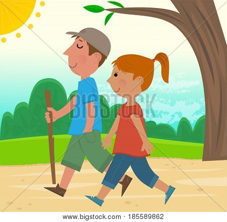 Man and a woman enjoy walking in the park. Eps10