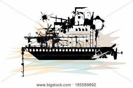 Stylized illustration of silhouetted battleship wreckage. Eps10