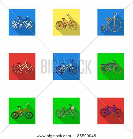 Collection of bikes with different wheels and frames. Different bikes for sport and walks.Different bicycle icon in set collection on flat style vector symbol stock web illustration.