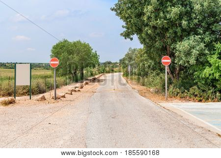 Israeli suburban road with no entry traffic sign