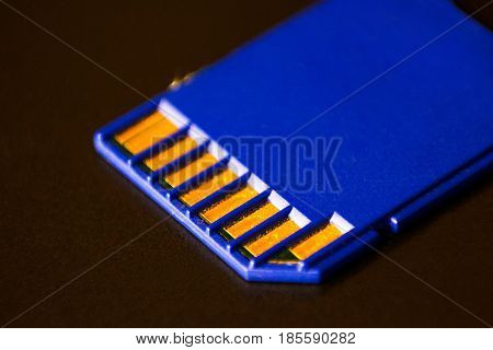 Sd Memory Card. Blue Is On The Laptop.