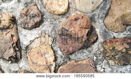 Background. The texture of the stone wall of the large rounded boulders