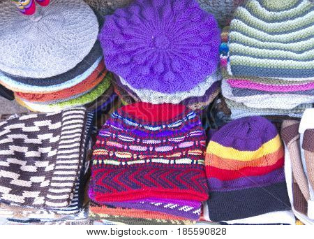 Traditional Souvenirs At The Market In La Paz, Bolivia.
