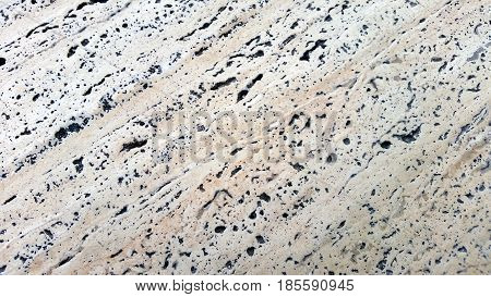 Travertine Wall With Stone Layers. Close Up Architecture Wall.
