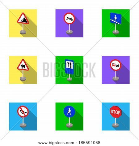 Set of road signs. Signs of prohibition, permission, priority. Road signs icon in set collection on flat style vector symbol stock web illustration.