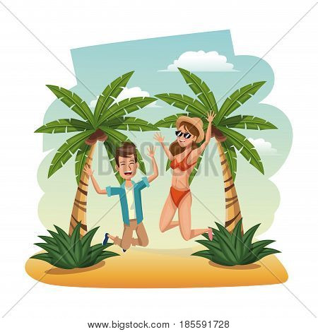 happy couple leap beach. time travel tropical vacations concept vector illustration