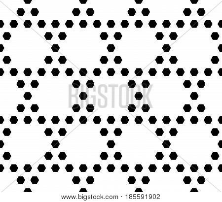 Vector monochrome seamless pattern. Simple geometric texture with small hexagons. Black and white illustration, hexagonal grid. Repeat abstract geometrical background. Design for textile, decor, print
