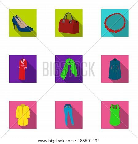 Pictures about types of women's clothing. Outerwear and underwear for women and girls. Woman clothes icon in set collection on flat style vector symbol stock web illustration.