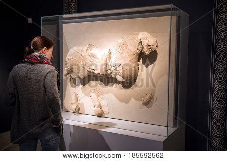 BERLIN GERMANY - APRIL 7: Ancient exhibit at Pergamon museum on April 7 2017 in Berlin