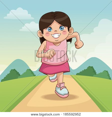 children day happy. cute little girl on the meadow. child running on road vector illustration
