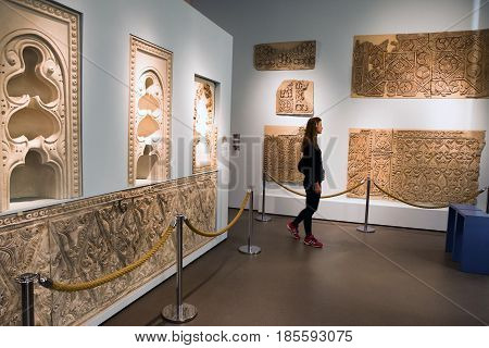 BERLIN GERMANY - APRIL 7: Samarra (Iraq) stucco panels at museum of Islamic art in Pergamon museum on April 7 2017 in Berlin