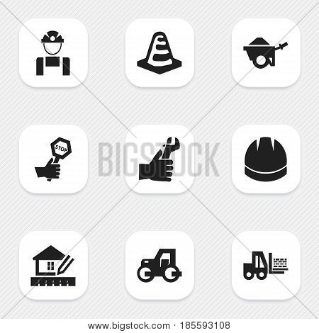 Set Of 9 Editable Building Icons. Includes Symbols Such As Trolley, Truck, Notice Object And More. Can Be Used For Web, Mobile, UI And Infographic Design.