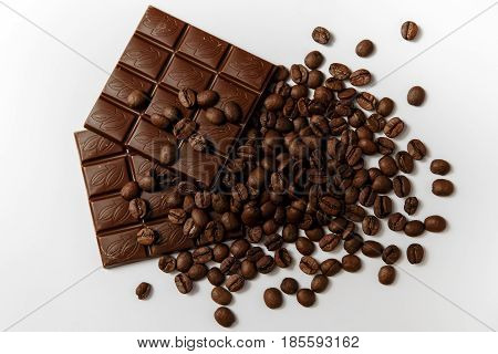 Chocolate And Coffee On A White Background. Top View.