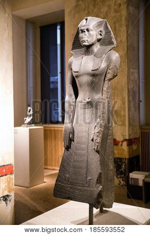 BERLIN GERMANY - APRIL 7: Statue of king Amasys in Egyptian museum on April 7 2017 in Berlin