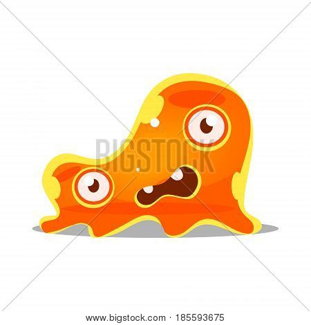 Funny cartoon orange slimy monster. Cute bright jelly character vector Illustration isolated on a white background