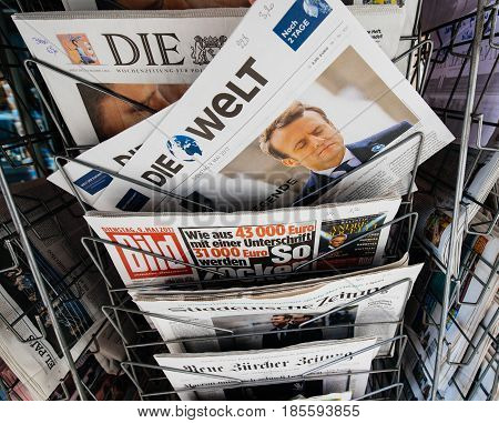 PARIS FRANCE - MAY 9 2017: Die Welt newspaper front page with the picture of the newly elected French president Emmanuel Macron after the second round French Presidential election