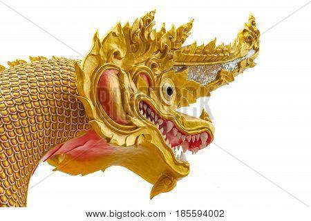 Naga statue architecture in public temple of Thailand