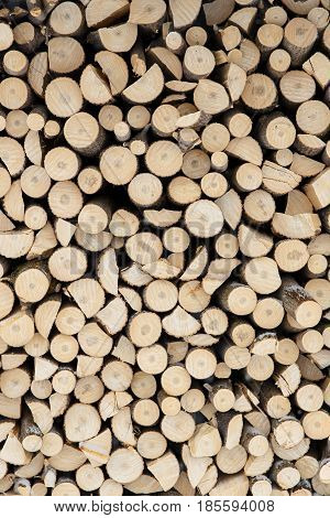 Picture Of The Firewood Stack Texture Close Up.
