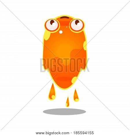 Funny cartoon orange sluggish blob monster. Cute bright jelly character vector Illustration isolated on a white background