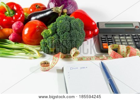 Diet Plan And Ripe Vegetable Composition