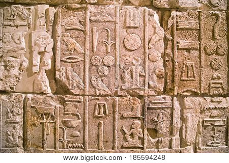 Egyptian hieroglyphs on the wall in Pergamon museum, Berlin
