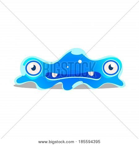 Funny cartoon sluggish blob monster. Cute bright jelly character vector Illustration isolated on a white background
