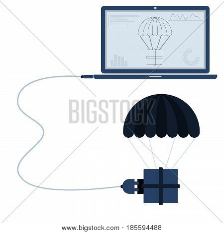 Delivery connected to a laptop through a usb cable. Outline of the parachute and graphs being shown on the computer monitor. Flat design. Isolated.