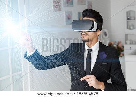 3D Vision Technology Concept, Virtual Glasses