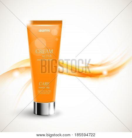 Skin moisturizer cosmetic design template with orange realistic bottle on soft smoky curved bright elegant light lines background. Vector illustration
