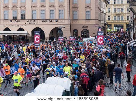 Prague, Czech Republic - May 7, 2017: Volkswagen Prague Marathon 2017 runners starting their 42,195km in Prague, Czech Republic