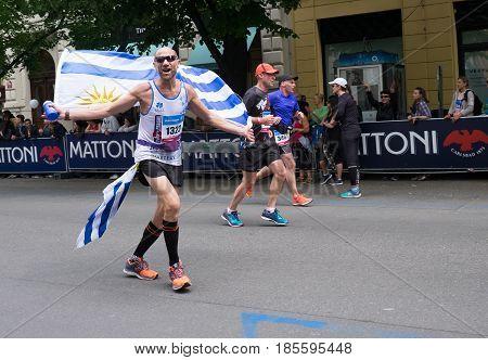 Prague, Czech Republic - May 7, 2017: Volkswagen Prague Marathon 2017 runners during their 42,195km distance in Prague, Czech Republic