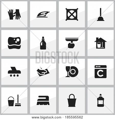 Set Of 16 Editable Dry-Cleaning Icons. Includes Symbols Such As Sweep, Brush, Exhauster And More. Can Be Used For Web, Mobile, UI And Infographic Design.