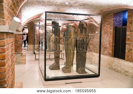 BERLIN GERMANY - APRIL 7: Sarcophagus in egyptian museum on April 7 2017 in Berlin